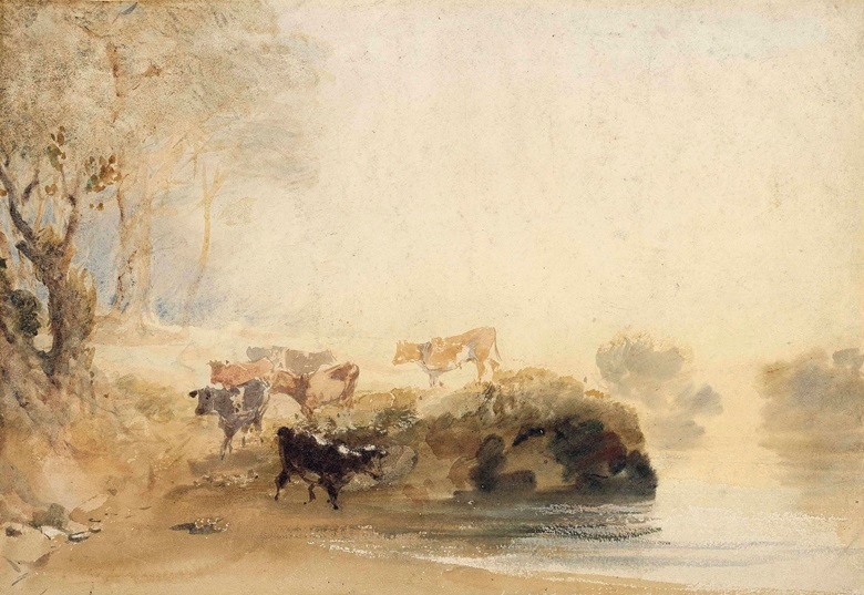 Joseph Mallord William Turner, R.A. (1775-1851), Cattle on the banks of a river. Pencil and watercolour. 10 x 14 in (25.6 x 36.5 cm). Sold for £43,750 on 5 December 2013 at Christies South Kensington