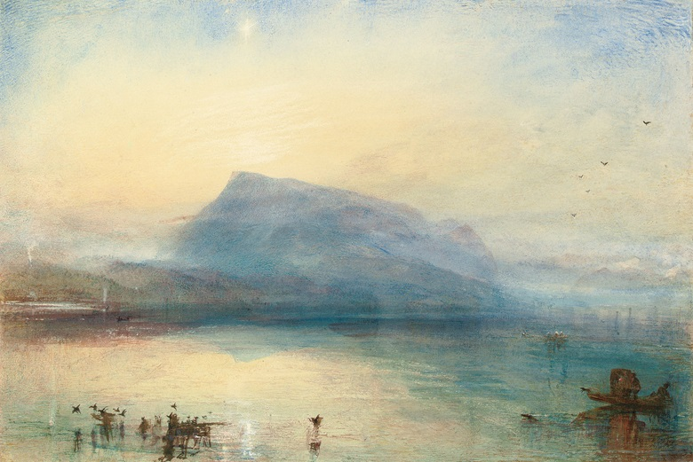 Joseph Mallord William Turner, R.A. (1775-1851), The Blue Rigi Lake of Lucerne, Sunrise, 1842. Watercolour, bodycolour, pen and brown ink, heightened with white chalk and with scratching out. 11¾ x 17¾ in (29.7 x 45 cm). Sold for £5,832,000 on 5 June 2006 at Christie's London
