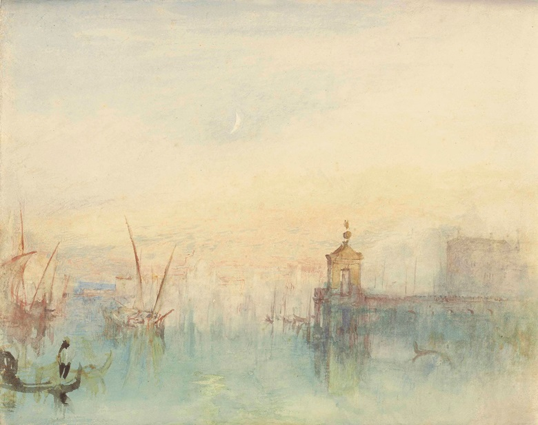 Joseph Mallord William Turner, R.A. (1775-1851), Venice The New Moon – The Dogana from the Steps of the Hotel Europa. Watercolour. 9½ x 12 in (24.1 x 30.5 cm). Sold for £962,500 on 10 July 2014 at Christie's London