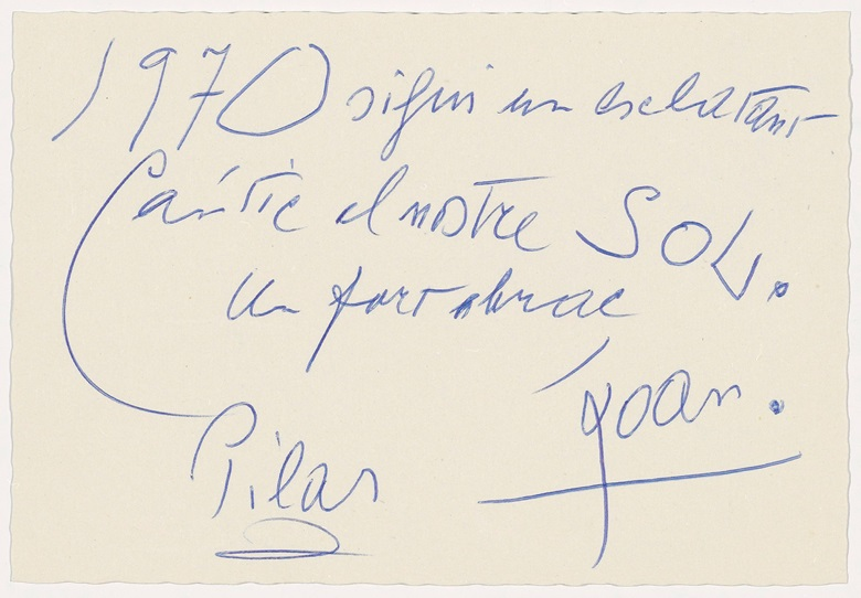Verso Christmas card from Pilar and Joan Miró to the Gili family, 1970 (Archive Editorial Gustavo Gili) © Successió MiróADAGP, Paris and DACS London 2017
