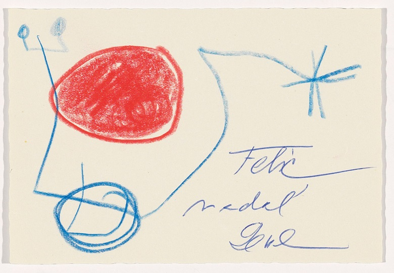 Recto Christmas card from Pilar and Joan Miró to the Gili family, 1970 (Archive Editorial Gustavo Gili) © Successió MiróADAGP, Paris and DACS London 2017