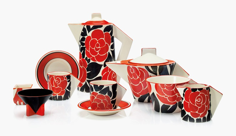A Clarice Cliff six-piece tea and coffee service. Second quarter 20th century, various printed, 7½ in (19 cm) high, the coffee pot. This lot was offered in Clarice Cliff Ceramics The André Aerne Collection sold to benefit the Muskegon Museum of Art, 14-25 August 2017, Online, and sold for $2,000