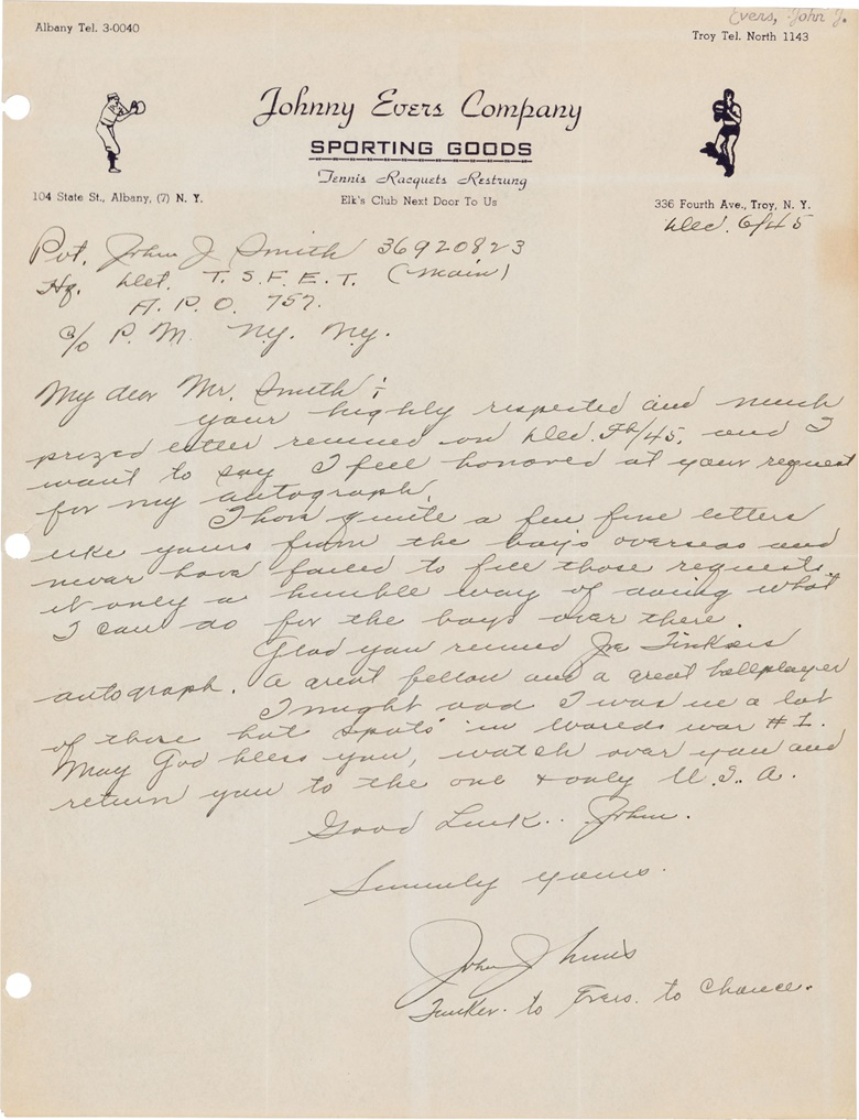 Johnny Evers handwritten letter. 8¼ x 10¾ in. Sold for $1,875 in August 2017 in The Golden Age of Baseball  at Christie's, online