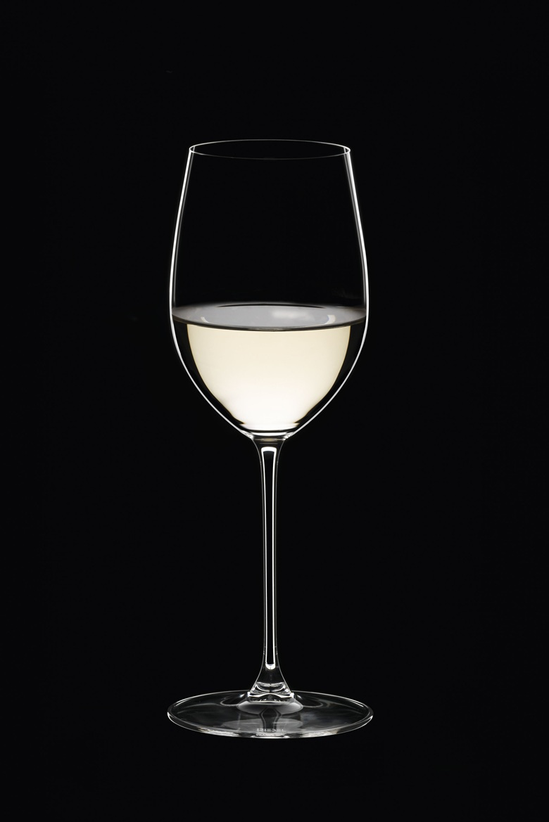 A glass such as this one, designed by Riedel for Sauvignon Blanc or Riesling, can also be appropriate for a lighter, slightly chilled red such as a Beaujolais or a Valpolicella