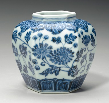 A rare small blue and white hexagonal jar. Early Ming dynasty, 15th century. 4½ in (11.3 cm) high. Estimate $70,000-90,000. This lot is offered in Fine Chinese Ceramics and Works of Art on 14-15 September 2017 at Christie's in New York