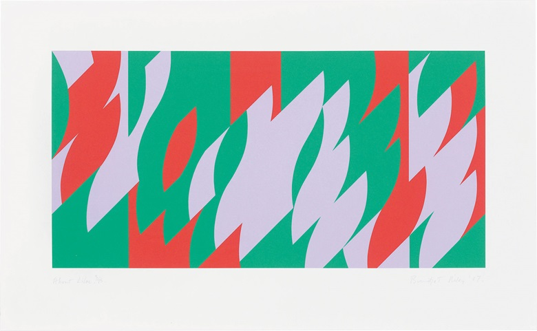 Bridget Riley (b.  1931), About Lilac, 2007. Image 12¾ x 25½ in (324 x 648 mm), sheet 19 x 31 in (490 x 800 mm). Estimate $3,000-5,000. This lot is offered in Contemporary Edition, 12-21 September 2017, Online