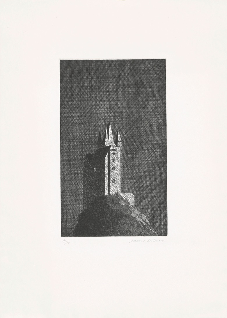 David Hockney (b.  1937), The Haunted Castle, from Six Fairy Tales from the Brothers Grimm, 1969. Plate 13¾ x 8¼ in (345 x 210 mm), sheet 24¼ x 17¼ in (618 x 450 mm). Estimate $1,500-2,500. This lot is offered in Contemporary Edition, 12-21 September 2017, Online