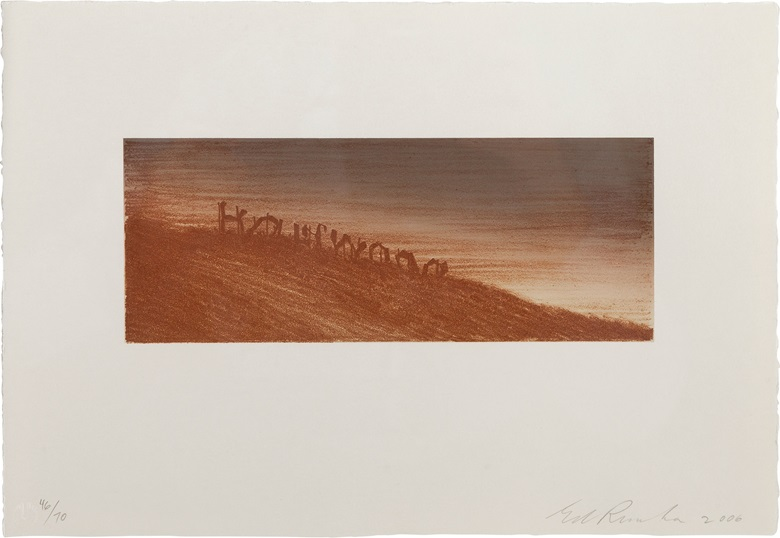 Ed Ruscha (b.  1937), Landmark Decay, 2006. Image 3½ x 9 in (89 x 229 mm), sheet 9 x 13 in (229 x 330 mm). Estimate $3,000-5,000. This lot is offered in Contemporary Edition, 12-21 September 2017, Online