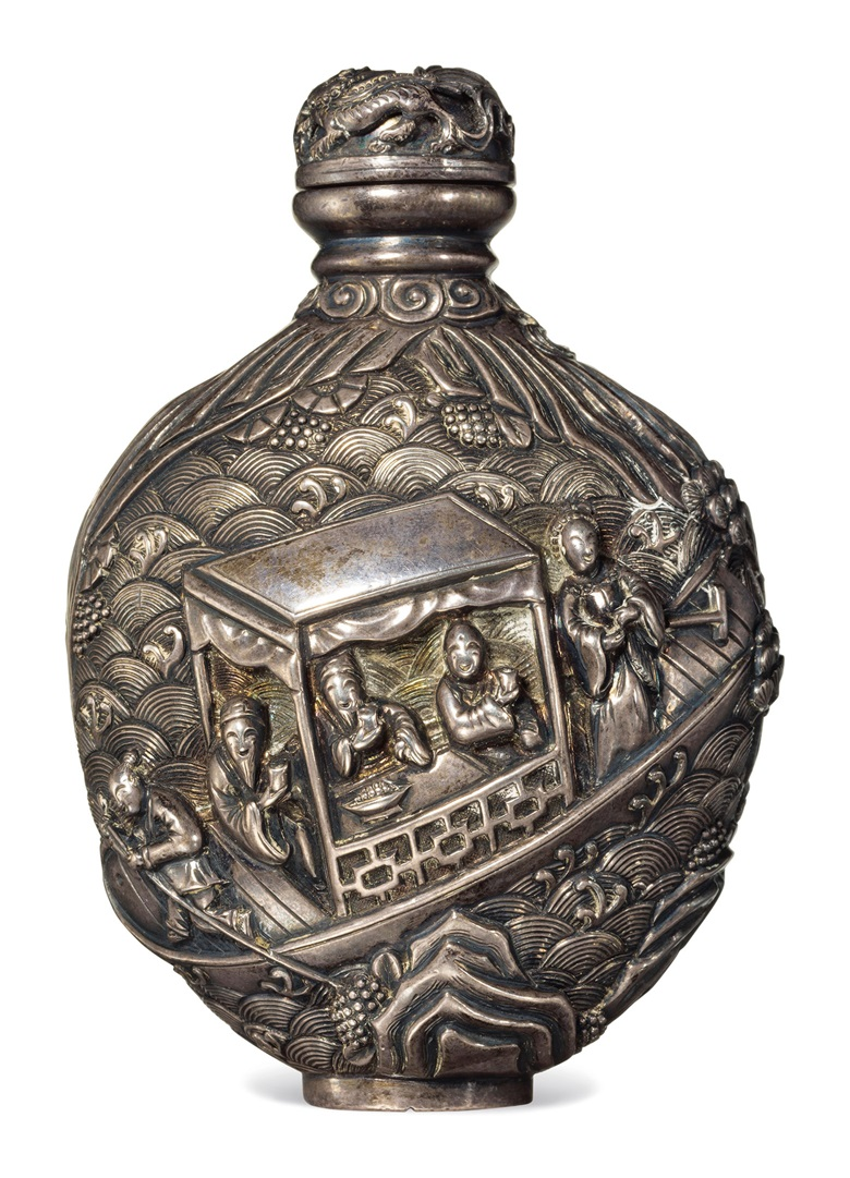 A rare silver snuff bottle. 1785-1850. 2¾ in (7 cm) high. Estimate $12,000-18,000. This lot is offered in The Ruth and Carl Barron Collection of Fine Chinese Snuff Bottles Part V on 13 September 2017 at Christie's in New York