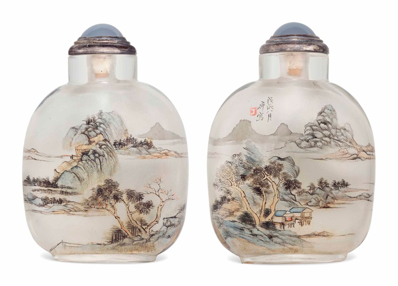 A rare inside-painted glass snuff bottle. 1898. 2½ in (6.3 cm) high. Estimate $40,000-$60,000. This lot is offered in The Ruth and Carl Barron Collection of Fine Chinese Snuff Bottles Part V on 13 September 2017 at Christie's in New York