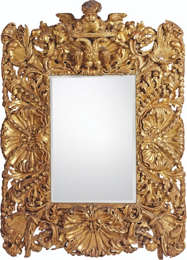 Italian, Possibly South German, A BAROQUE MIRROR, LATE 17TH CENTURY. 82 ½  in (209.5  cm) high; 61  in (155  cm) wide; 17 ½  in (44.5  cm) deep. Estimate £10,000-15,000. This lot is offered in Villa Wunderkind Selected Works from the Private Collection of Wolfgang Joop on 18 October 2017  at Christie's in London