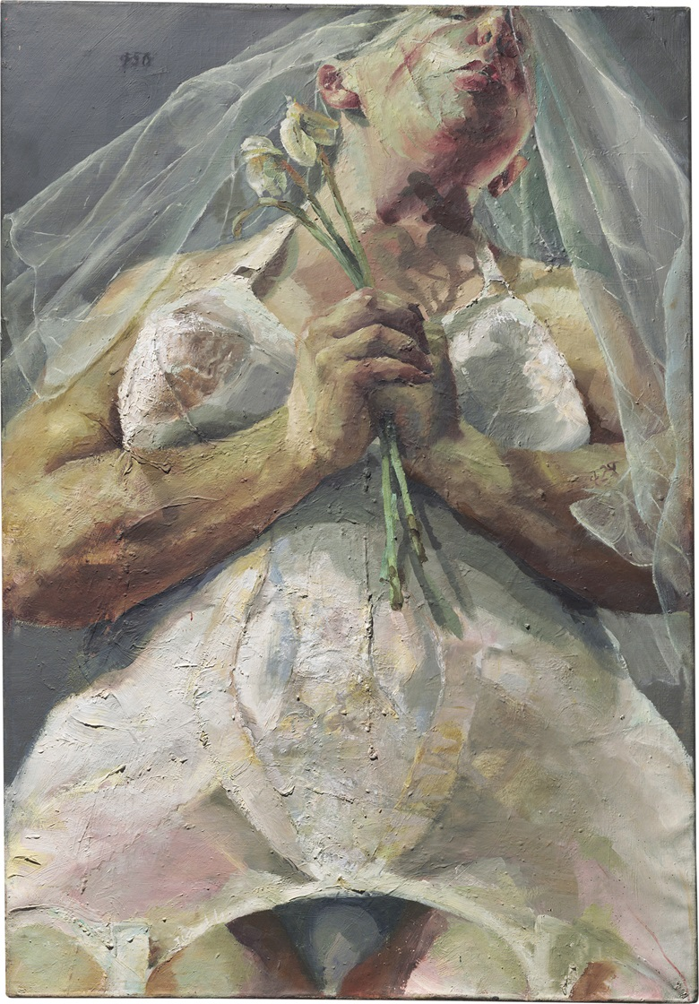 Jenny Saville (b. 1970), The Bride, 1992. 55⅞ x 38¾ in (142.1 x 98.6 cm). Estimate £1,000,000-1,500,000. This lot is offered in Post-War and Contemporary Art Evening Auction on 6 October 2017  at Christie's in London © Jenny Saville. All rights reserved, DACS 2017