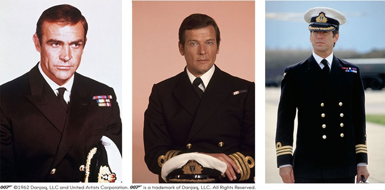 From left to right Sean Connery as James Bond in You Only Live Twice © 1967 Metro-Goldwyn-Mayer Studios Inc. and Danjaq, LLC; Roger Moore as Commander Bond in The Spy Who Loved Me © 1977 Metro-Goldwyn-Mayer Studios Inc. and Danjaq, LLC; Pierce Brosnan as the secret agent in Tomorrow Never Dies © 1997 Metro-Goldwyn-Mayer Studios Inc. and Danjaq, LLC. All rights reserved