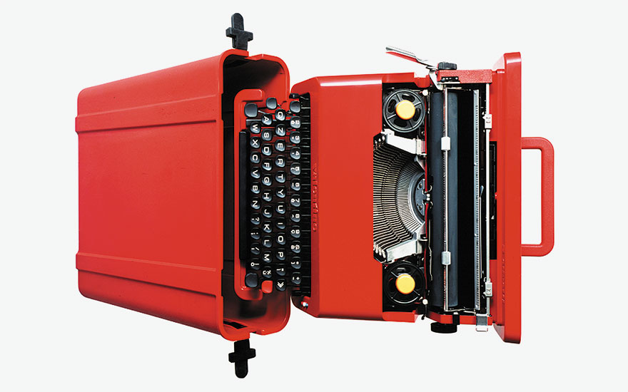 The Olivetti Valentine portable typewriter with red carry case, designed by Ettore Sottsass, 1969. © ADAGP, Paris and DACS, London 2017. © ADAGP, Paris and DACS, London 2017. Photo