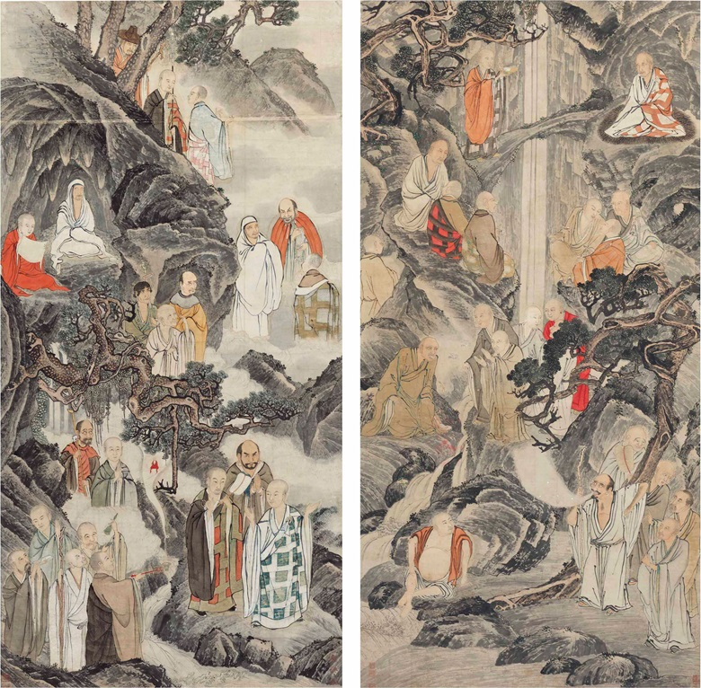 Ding Yunpeng (1547-1628)  Sheng Maoye (Active 1607-1638), Luohans, 1882. Each measures 80⅝ x 39¾  in (204.8 x 101  cm). Estimate $200,000-400,000. This lot is offered in Fine Chinese Paintings on 12 September 2017  at Christie's in New York
