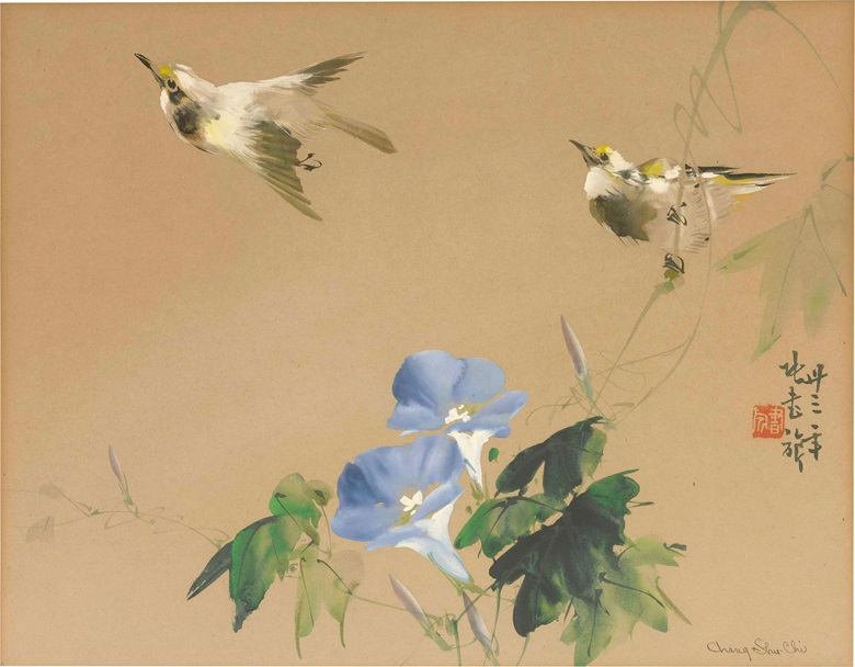 Zhang Shuqi (1899-1956), Two Birds and Flowers, 1944. 10⅜ x 13¼  in (26.3 x 33.7  cm) . Estimate $5,000-12,000. This lot is offered in Fine Chinese Paintings on 12 September 2017  at Christie's in New York