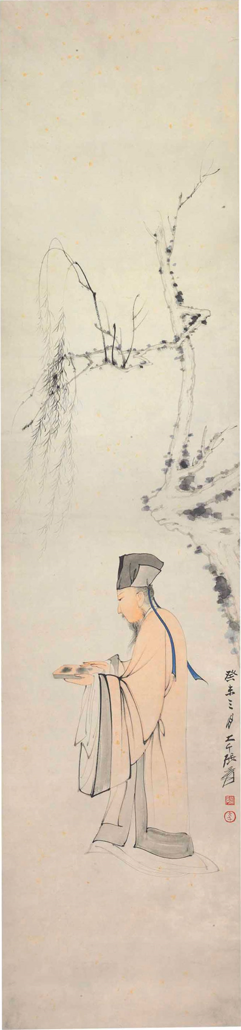 Zhang Daqian (1899-1983), Su Dongpo Holding an Inkstone, dated third month, guiwei year (1943). 43½ x 10⅛  in (110.5 x 25.7  cm). Estimate $80,000-120,000. This lot is offered in Fine Chinese Paintings on 12 September 2017  at Christie's in New York