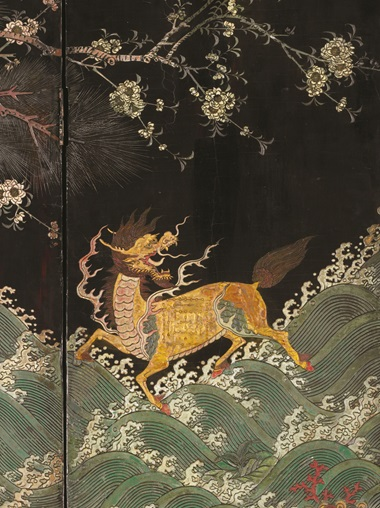 A qilin  is a mythical four-legged beast with dragon scales and a dragon's head. 'It was thought to bring peace,' says Cheng