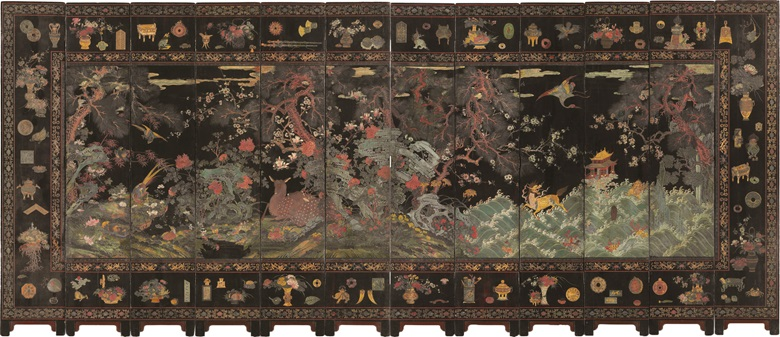A magnificent 12-panel coromandel lacquer screen, Kangxi period (1662-1722). 107¾  in (276.7  cm) high, 20⅞  in (52.5  cm) wide, ⅞  in (2.1  cm) deep, each panel. Estimate $150,000-250,000. This lot is offered in Fine Chinese Ceramics and Works of Art on 14-15 September 2017  at Christie's in New York