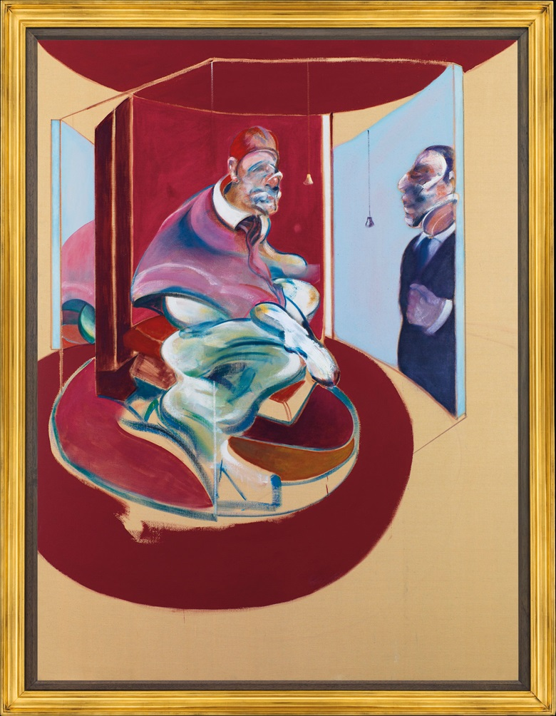 Francis Bacon (1909-1992), Study of Red Pope 1962. 2nd Version 1971. 78 x 58⅛ in (198 x 147.5 cm). Estimate . This lot is offered in Post-War and Contemporary Art Evening Auction on 6 October 2017  at Christie's in London