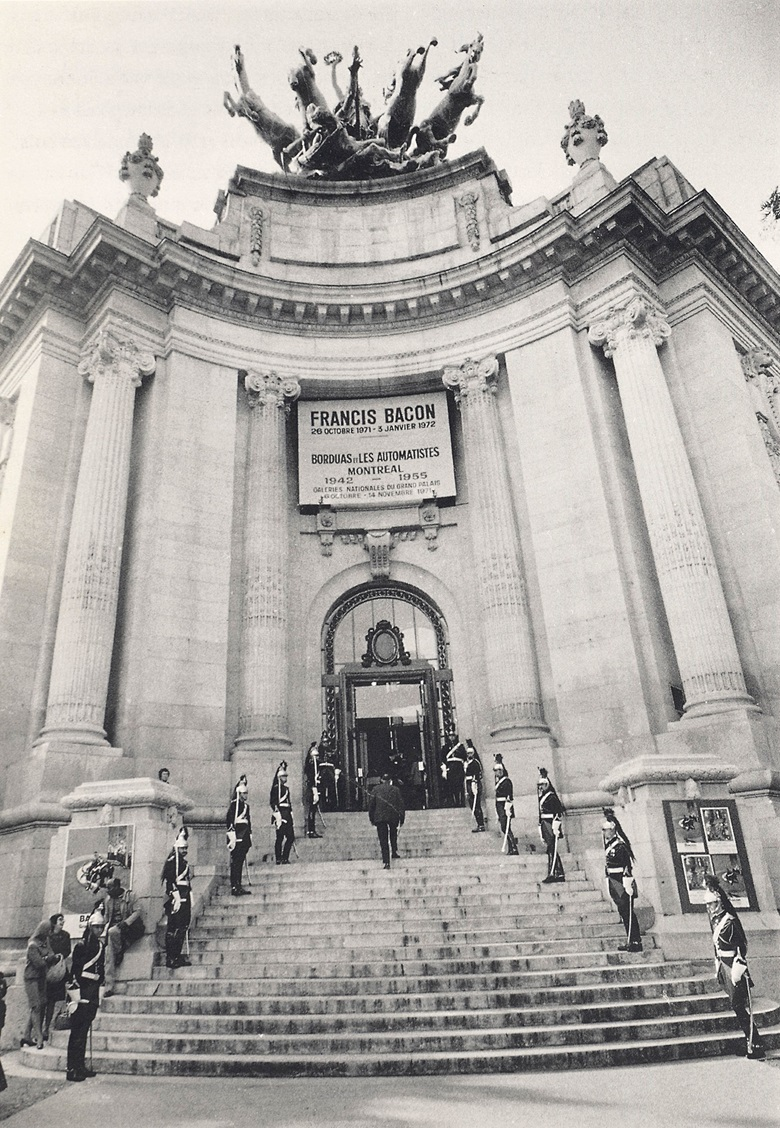 The Republican Guard on the steps to the Grand Palais at the opening of the exhibition, Francis Bacon, in Paris, 26 October 1971. Photo André Morain
