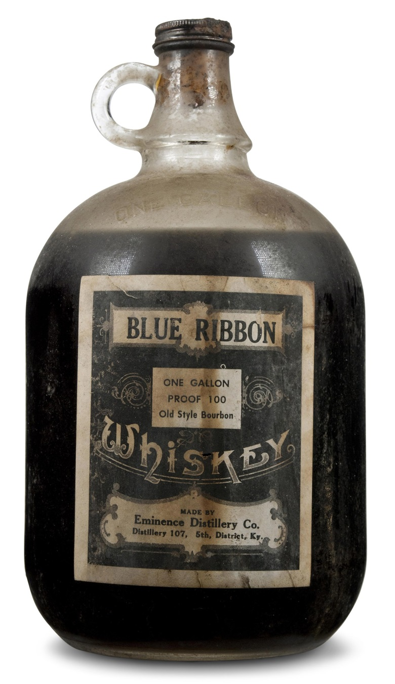 Blue Ribbon Kentucky Whiskey Old Style Bourbon 1901.  One gallon per lot. Estimate $6,000-8,000. This lot is offered in Christie's Wine OnlineNYC, 26 September to 10 October