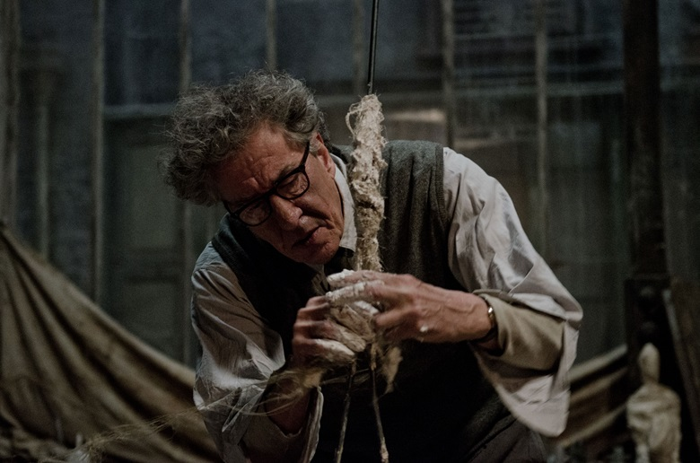 Geoffrey Rush plays the increasingly tortured Alberto Giacometti, wrestling with his creative demons and his portrait of James Lord. Courtesy Vertigo Films