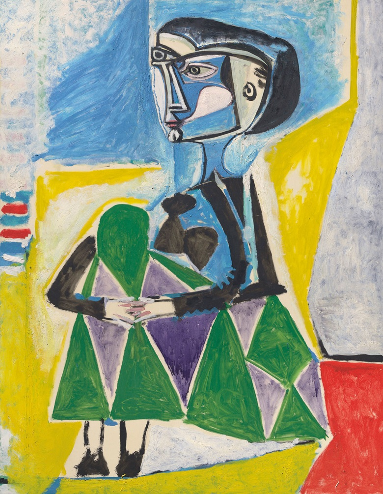 Pablo Picasso (1881-1973), Femme accroupie (Jacqueline), 1954. Oil on canvas. 57½ x 44⅞ in. Estimate $20,000,000-30,000,000. This work will be offered in the Impressionist and Modern Art Evening Sale on 13 November in New York