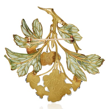 The reverse of the Lalique 'Hawthorn' brooch
