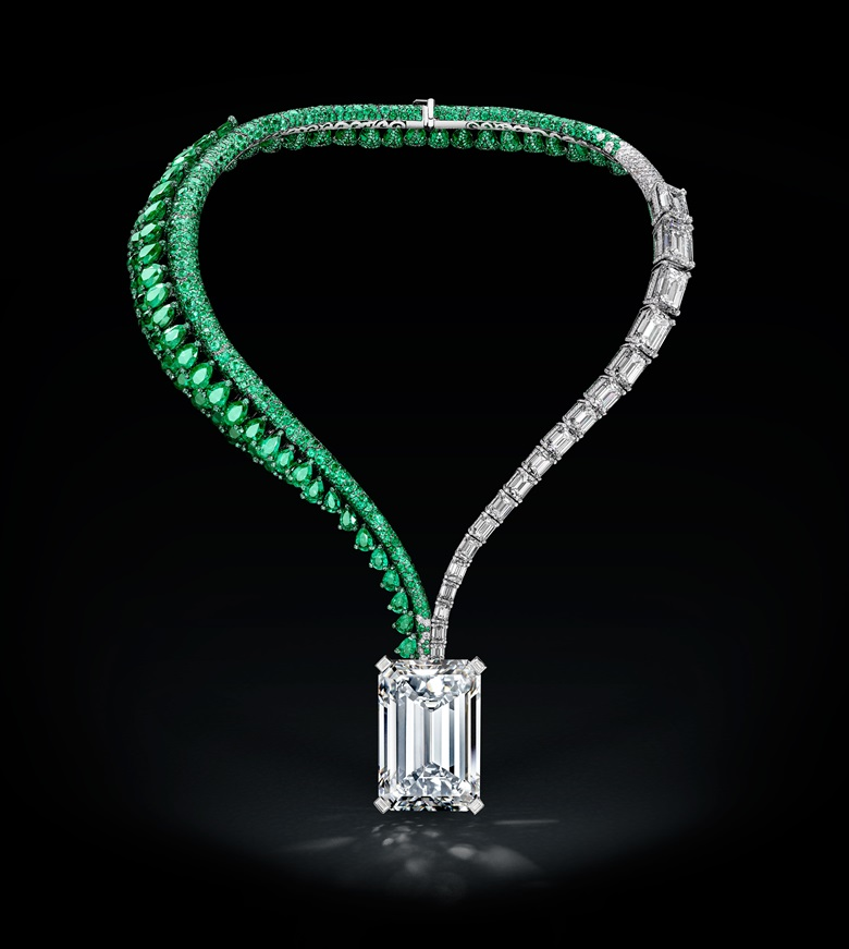 The largest D flawless diamond ever offered at auction a sensational diamond and emerald necklace, by de Grisogono. Further accompanied by hardbound monograph from the GIA Gemological Institute of America featuring additional photography, data collection charts and gemmological research, attesting to the rarity of this  diamond. Estimate on request. This lot is offered in Magnificent Jewels on 14