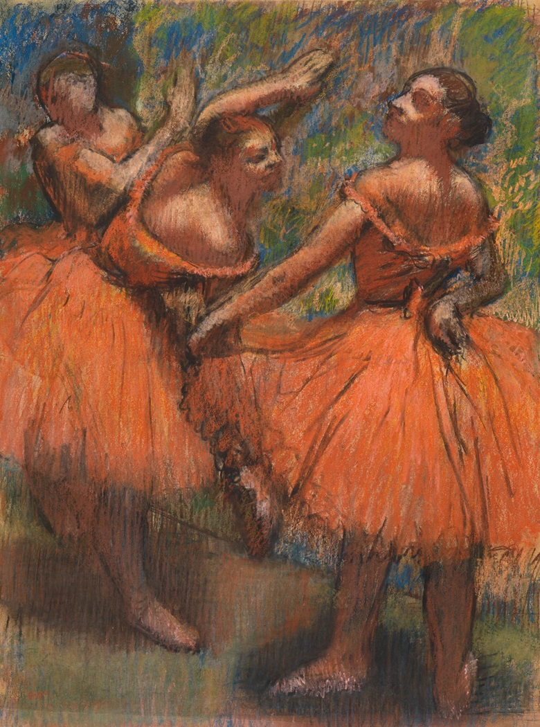 Hilaire-Germain-Edgar Degas, The Red Ballet Skirts, circa 1900. Pastel on tracing paper. 76.8 × 57.8 cm. The Burrell Collection, Glasgow (35.243) © CSG CIC Glasgow Museums Collection