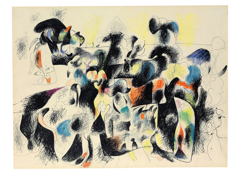 Arshile Gorky (1904-1948), Composition I, 1943. Ink, wax crayon and graphite on paper. Estimate $2,000,000-3,000,000. 19 x 24⅞ in (48.2 x 63.1 cm). This work is offered in the Post-War and Contemporary Art Evening Sale on 15 November at Christie's in New York