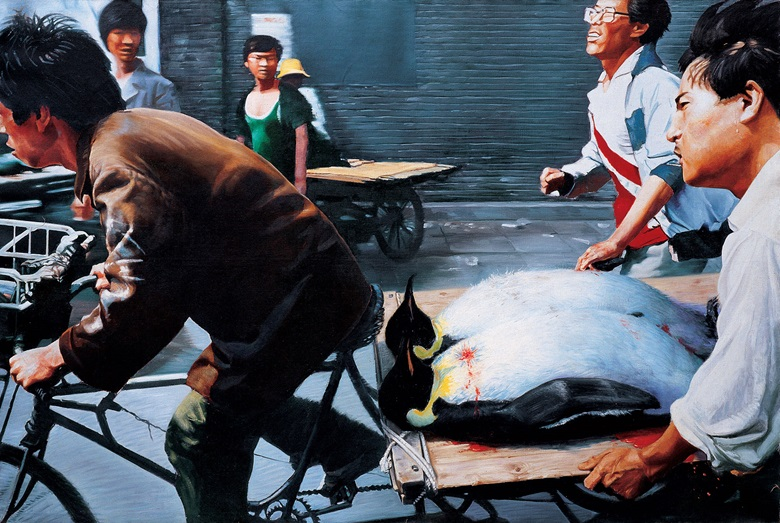 Wang Xingwei, New Beijing, 2001. Oil on canvas. 200 x 300 cm. M+ Sigg Collection, Hong Kong, by donation. Photo courtesy M+ Sigg, Hong Kong