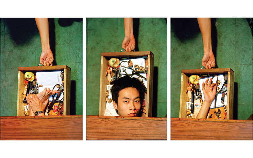 Jiang Zhi, Object in Drawer, 1997. Three chromogenic prints. 150 x 100 cm each. Collection of the artist. Photo courtesy the artist