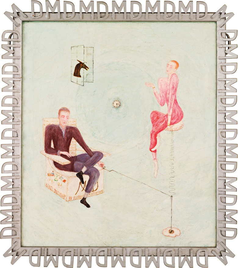Florine Stettheimer (1871-1944), Portrait of Marcel Duchamp and Rrose Sélavy, 1923. Oil on canvas laid down on board. 29⅞ x 26 in (75.9 x 66 cm). This work is offered in the American Art sale on 21 November at Christie's in New York
