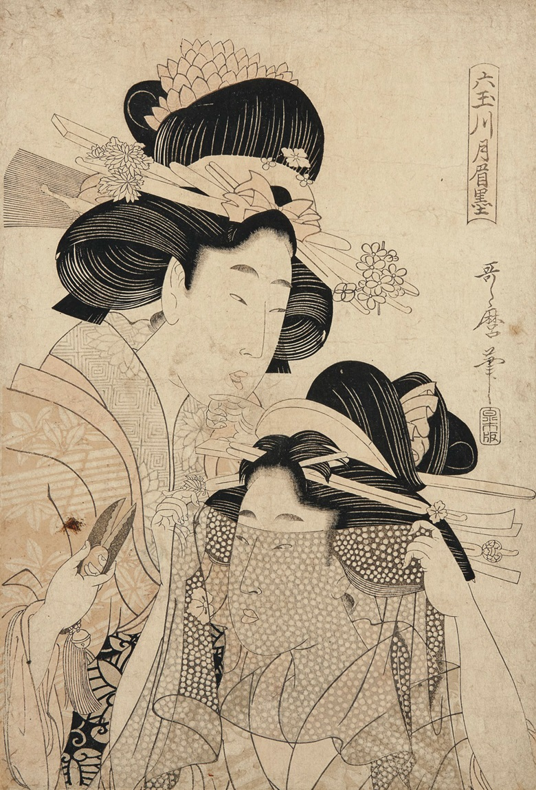 Kitagawa Utamaro II (d. 1831) and Kitagawa Utamaro (1753-1806). Oban tate-e 37 x 25.2  cm. Estimate HK$25,000-35,000. This lot is offered in Dear Monsieur Monet on 26 November at Christie's in Hong Kong