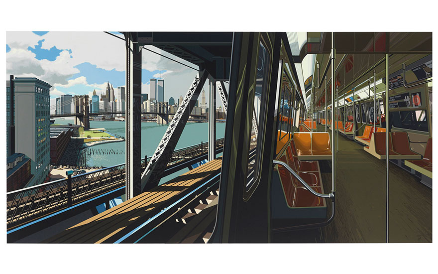 Richard Estes (b. 1932), D Train, 1988. Screenprint in colours, on German museum board, signed in pencil, numbered 82125 (there were also 15 artist's proofs), published by Parasol Press, Ltd.,
