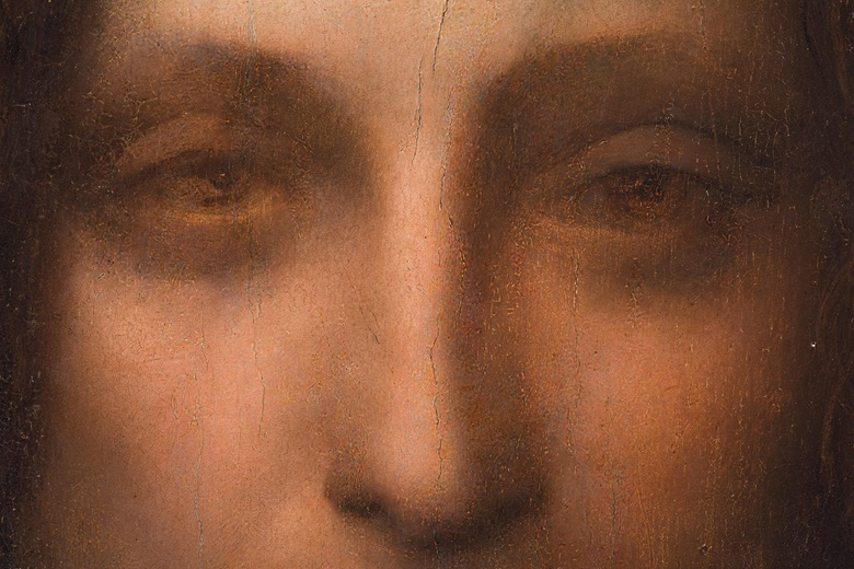 Above the left eye (right as we look at it), are still visible the marks that Leonardo 'made with the heel of his hand to soften the flesh,' as Martin Kemp has observed