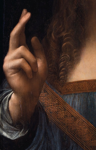 'Originally the thumb was in a different position,' says Sooke, 'but Leonardo must have changed his mind and switched the thumb to its final position.'