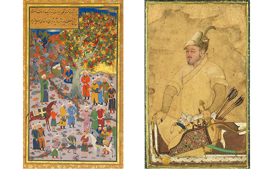 Left Visit to a Dervish, signed Mahmud Muzahhib, Bukhara, dated AH 9681560-61 AD. Painting 11 x 6¼ in (27.8 x 15.7 cm); folio 14 x 9¼ in (35.4 x 23.2 cm). Sold for £313,250 on