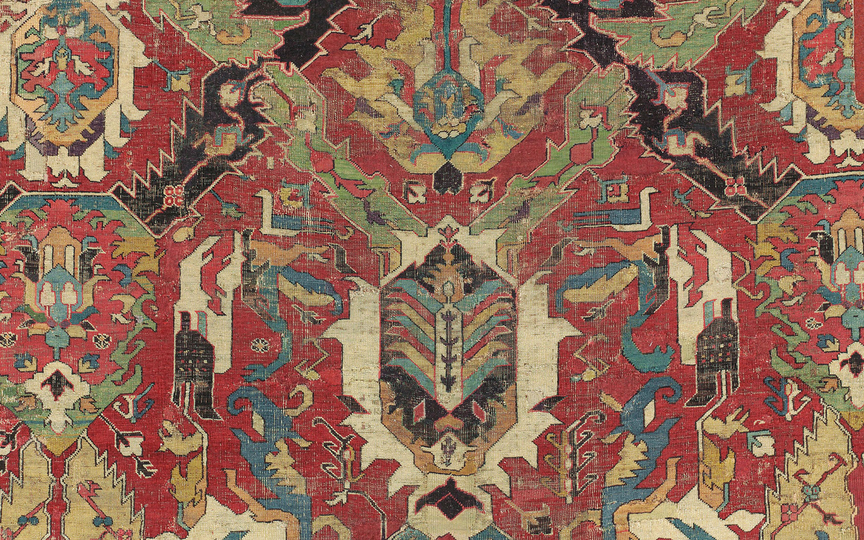 Detail of the Charles Deering Caucasian dragon carpet fragment, probably Karabagh, south Caucasus, late 17thearly 18th century. 15 ft 1 in x 5 ft 4 in (459 cm x 161 cm). Sold for £118,750 on 27