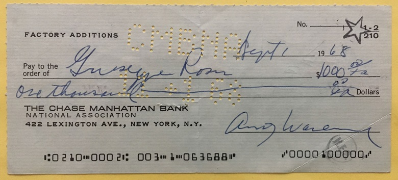 A cheque for $1,000 made to Dr Rossi and signed by Warhol in 1968, shortly after the operation that saved his life. The cheque bounced and was returned to the surgeon's office. It is now framed and hangs in the Rossi home