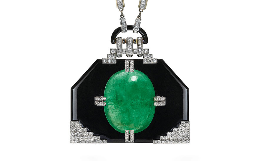 An important emerald, onyx and diamond pendant necklace, by Georges Fouquet. Offered in Beyond Boundaries Magnificent Jewels from a European Collection on 13 November 2017  at Christie's in