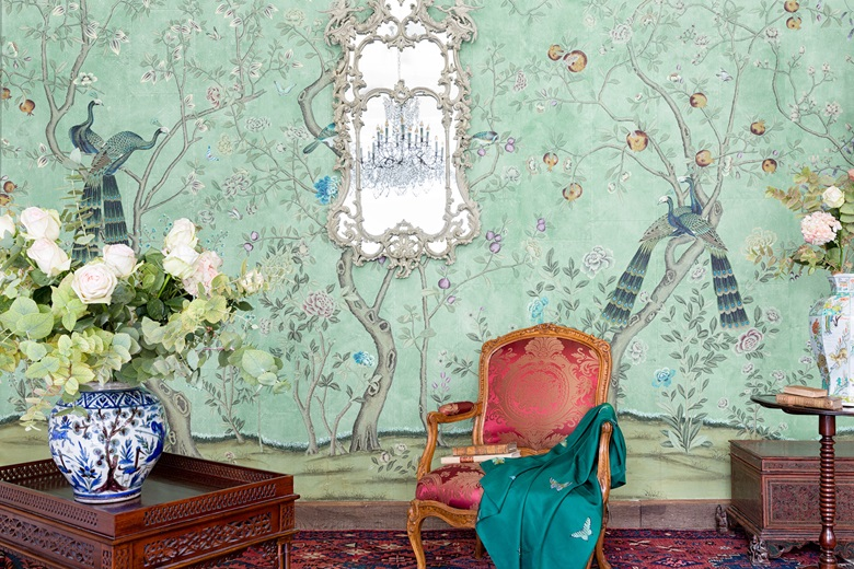 de Gournay hand-painted 'St. Laurent' Chinoiserie wallpaper on Blue India Tea paper. From £1,151 per panel (915 mm width). Photo Marian Medvedeva