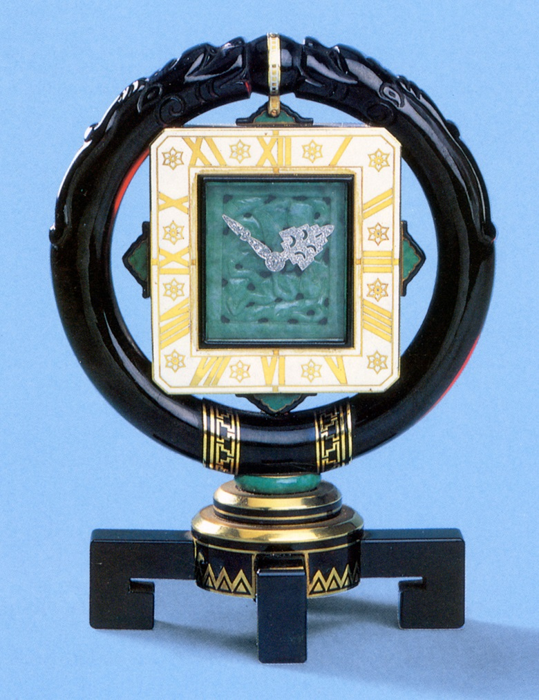 A rare Art Deco oriental-inspired mantel clock, by Cartier, circa 1925. Sold in our Jewellery by Cartier sale on 21 May 1992 at Christie's in Geneva