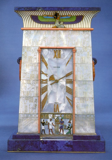 The Egyptian Temple Gate Clock, in mother-of-pearl, lapis lazuli and enamel, Cartier 1927. Sold in our Jewellery by Cartier sale on 24 April 1991 at Christie's in New York