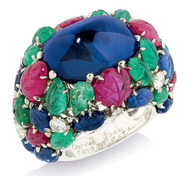 A rare 'Tutti Frutti' ring, by Cartier. Sold for £266,500 on 15 June 2016 at Christie's London