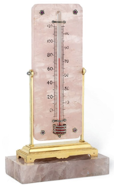 An early 20th-century rose quartz and gem-set thermometer, by Cartier, circa 1915. Sold for £22,500 on 13 June 2017 at Christie's London