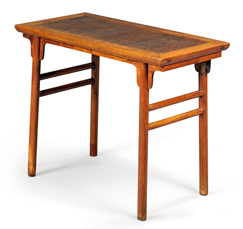 A nanmu inset huanghuali wine table  jiuzhuo  Ming dynasty  17th century. Classical Chinese furniture  a collecting guide   Christie s