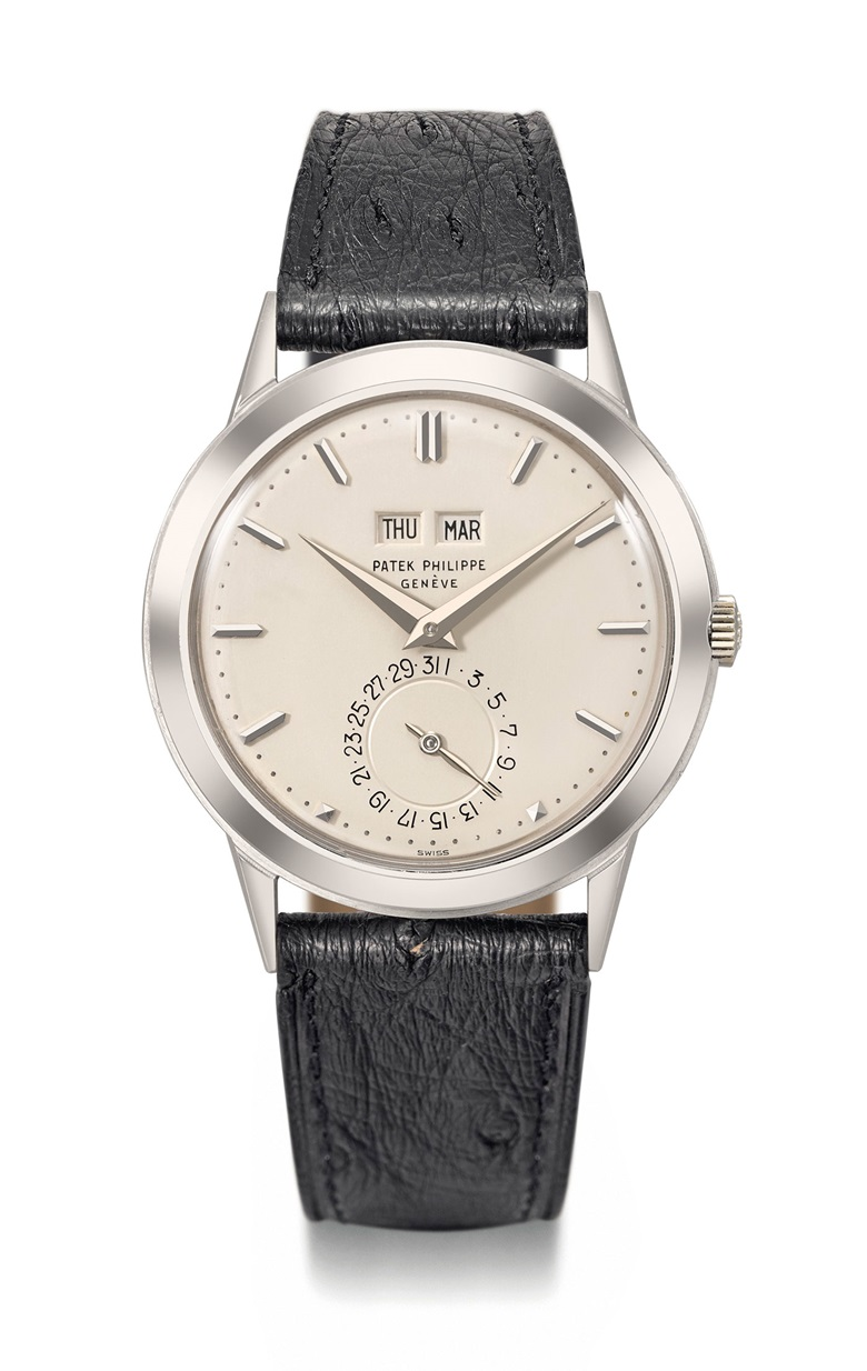 Patek Philippe. An exceptional and historically important 18K white gold automatic perpetual calendar wristwatch without moon phases, Signed Patek Philippe, Genève, ref. 3448, movement no. 1'119'585, case no. 332'625, manufactured in 1981, with 18k white gold Patek Philippe buckle, Extract from The Archives confirming production of the present watch in 1981 with an 18k